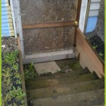 Mold Removal Portland, OR - Before rebuild services of exterior basement entry